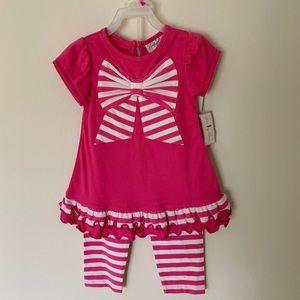 Pink Toddler 2-Piece Set Ruffles Striped Pants